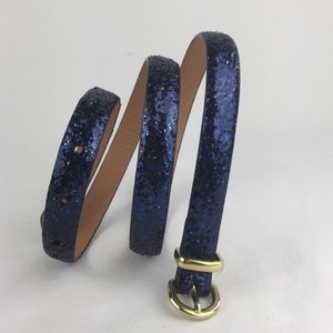 J. Crew Skinny Slim Navy Glitter Belt Small